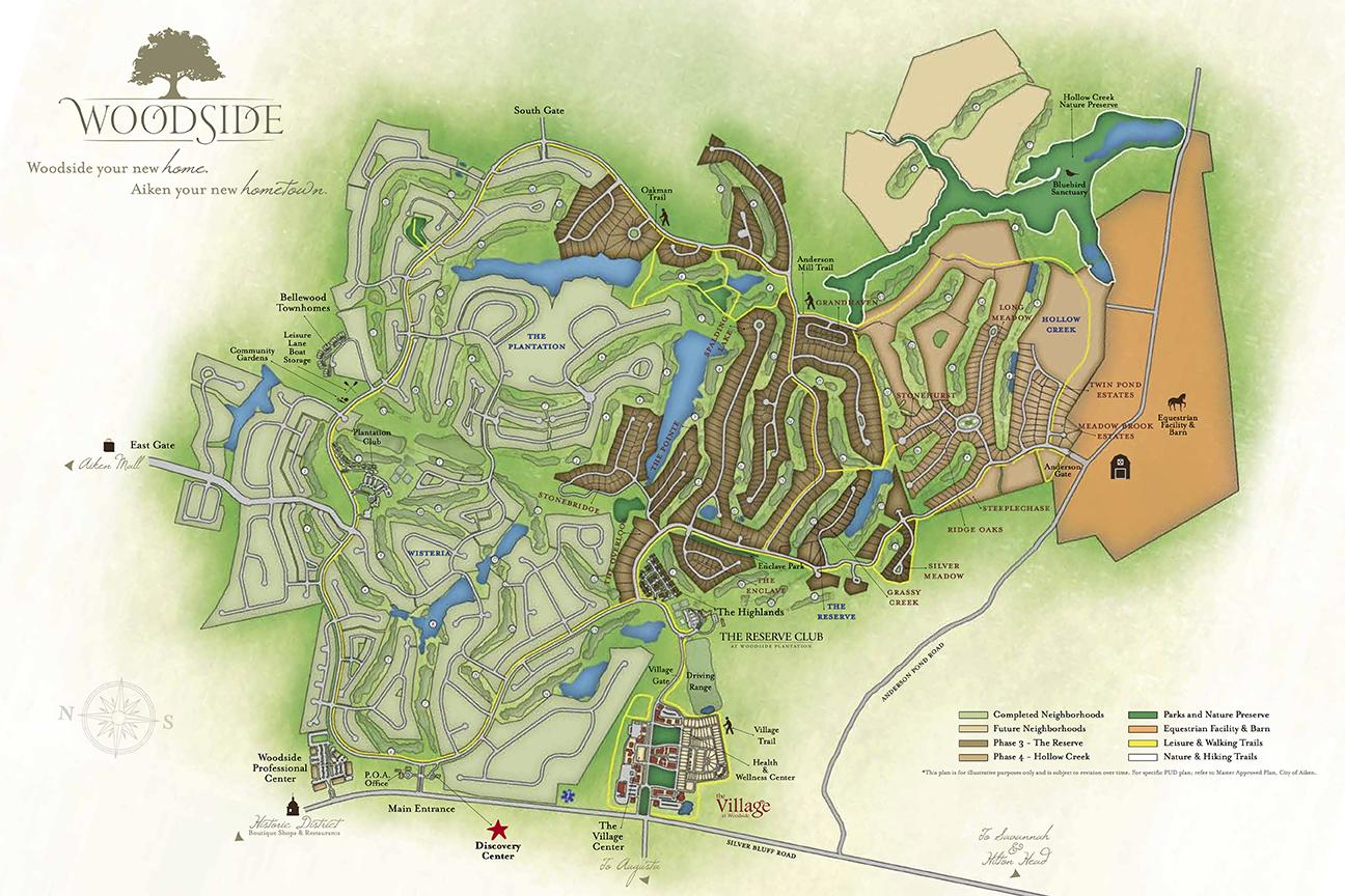 Golf Courses In South Carolina Map.Community Map Luxury Gated Communities Aiken Sc Woodside
