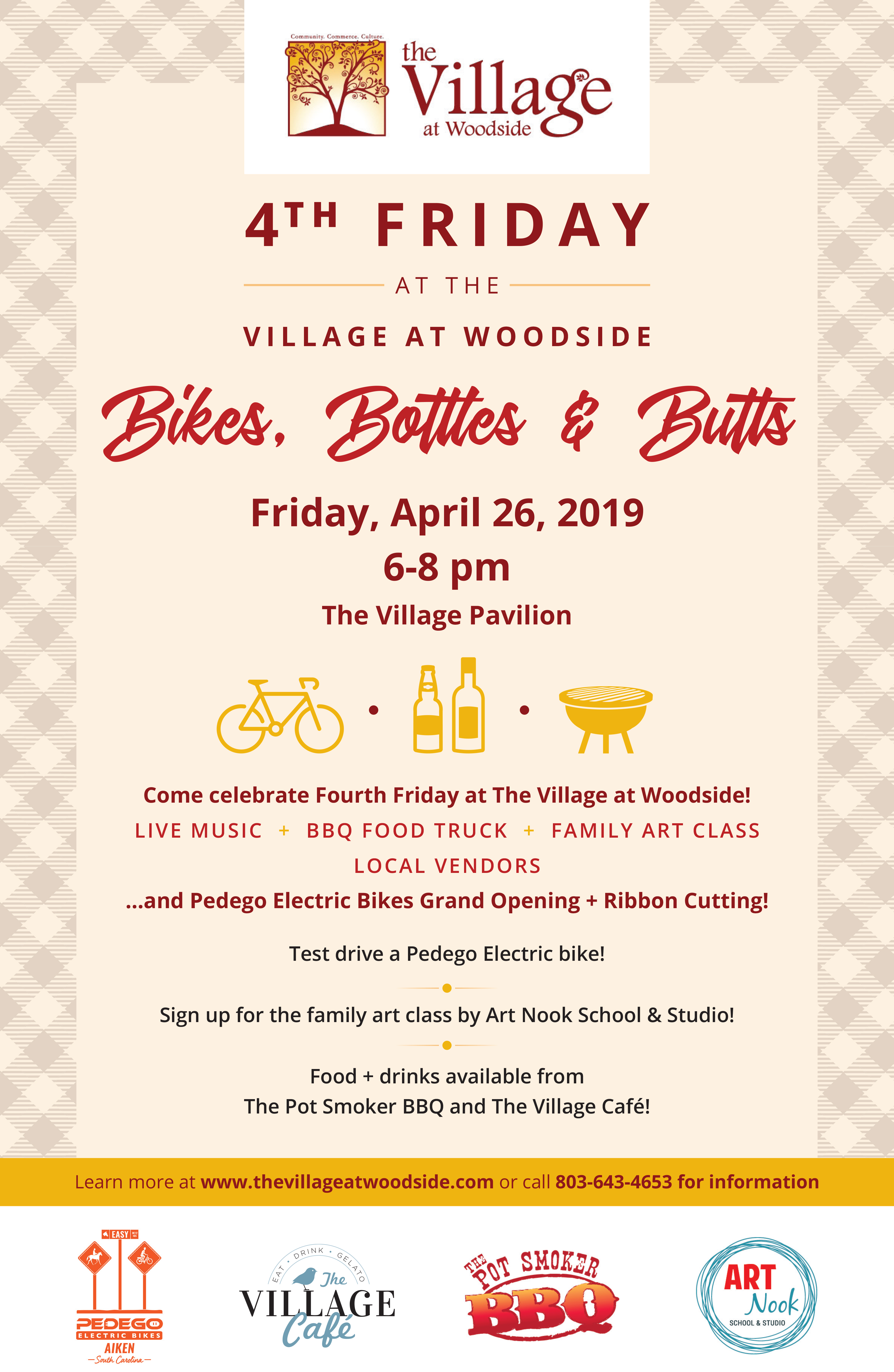 Fourth Friday - Bikes, Bottles, and Butts @ The Village at Woodside
