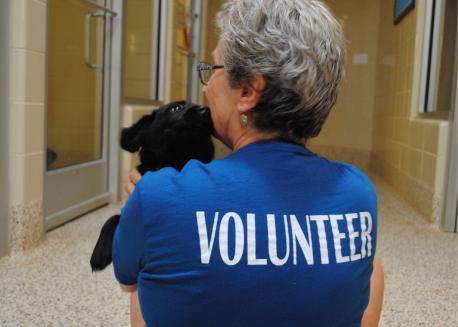 Aiken County SPCA Volunteer and Puppy